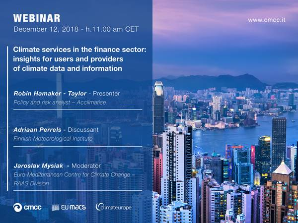 Webinar: Climate services for the financial sector | 12.12.2018